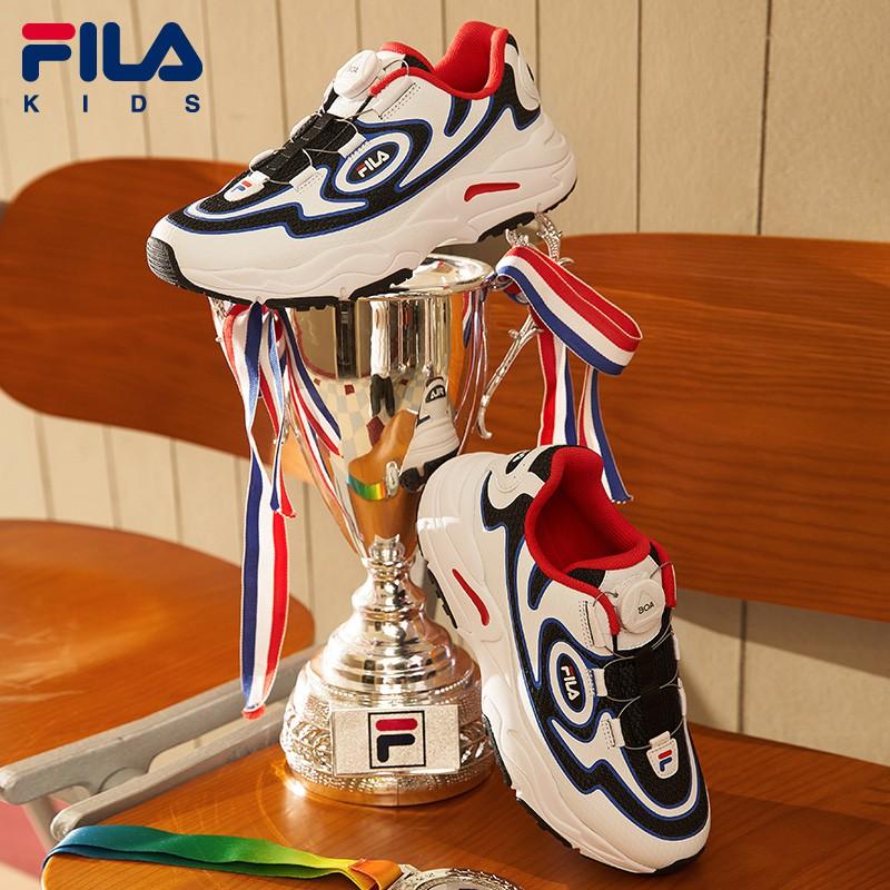 FILA รองเท้าเด็กเด็กรองเท้าวิ่งย้อนยุค 2020 ฤดูใบไม้ร่วงเด็กวัยกลางคนฟรีลูกไม้เด็กหญิงรองเท้าเด็ก
