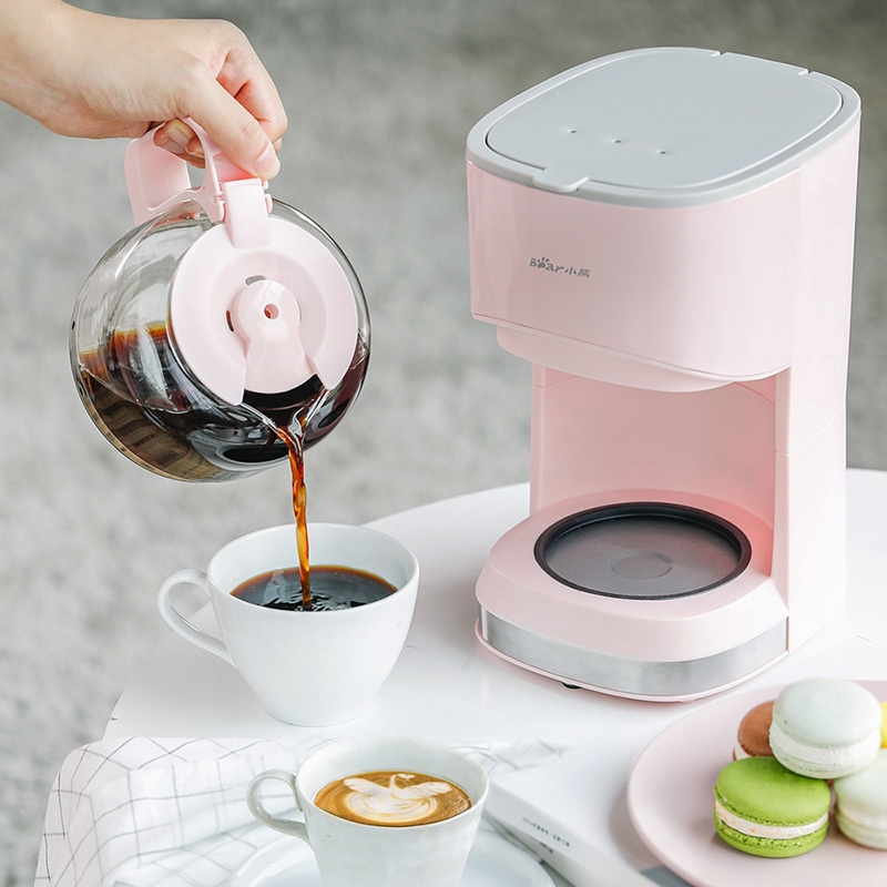 เครื่องทำกาแฟBear American เครื่องชงกาแฟอัตโนมัติแบบหยดหม้อกาแฟขนาดเล็กขนาดเล็กสำหรับชงชาและกาน้ำชา