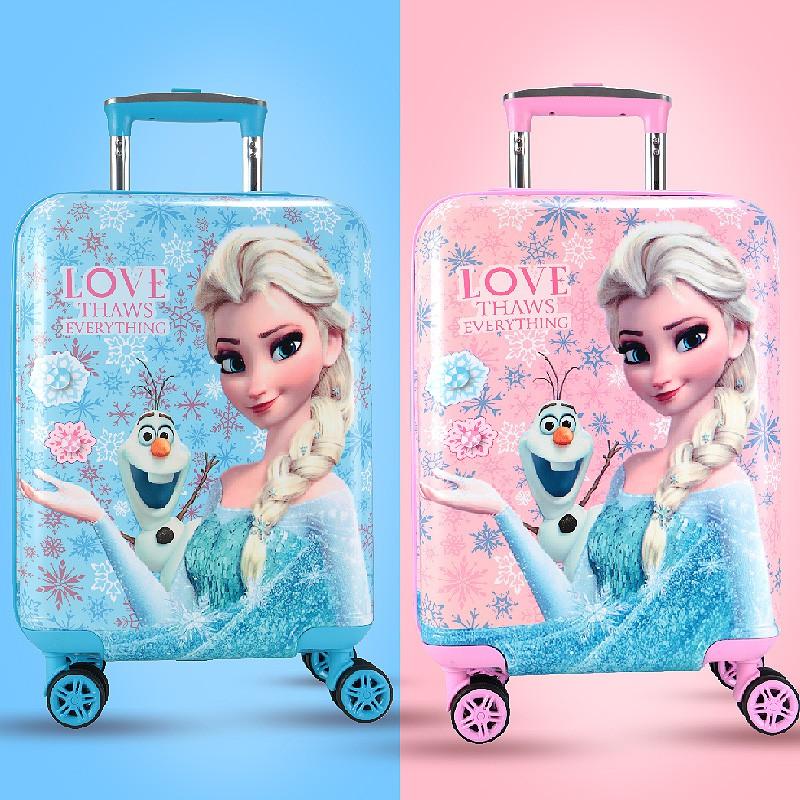 ✆⅗ กระเป๋ารถเข็นเดินทาง กระเป๋าเดินทางพกพา กระเป๋าเดินทางเด็ก Disney กระเป๋าเดินทางเด็กรถเข็นเด็กสาวเจ้าหญิง 16 นิ้วกระเ