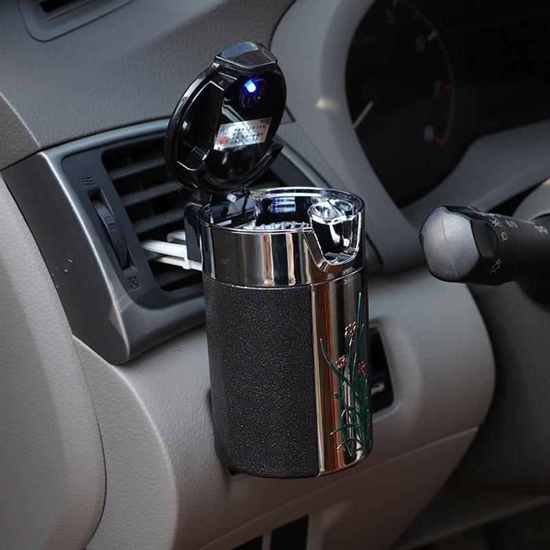 CHIZIYO Portable LED Light Ashtray Universal Cigarette Cylinder Holder Carbon Fiber Car Ashtray
