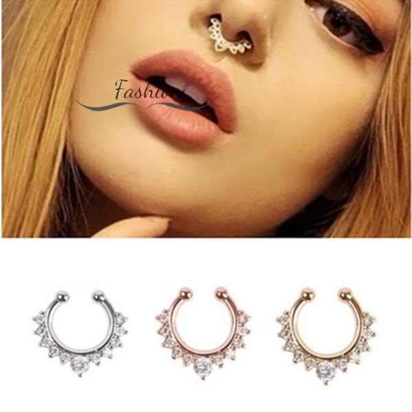 U Shaped Clip On Nose Hoop Zircon New Clicker Nose Ring Non