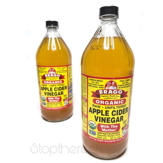 ขวดใหญ่👍ถูกที่สุด👍 Bragg Apple Cider Vinegar 946 ml หมดอายุ ปี25