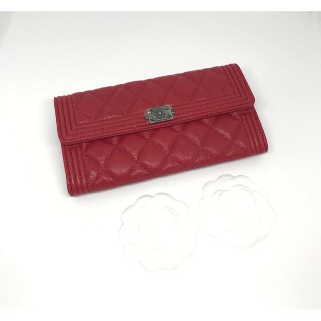 Chanel Boy Sarah wallet อะไหล่เงินรมดำ กระเป๋าสตางค์