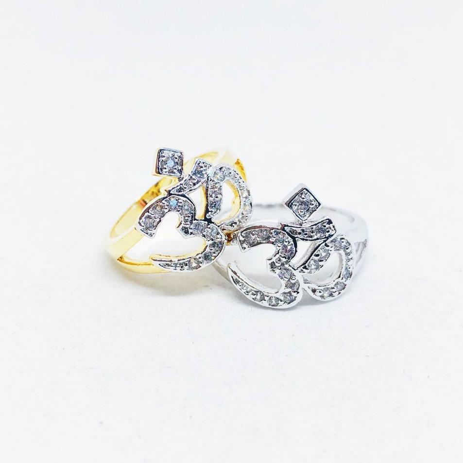 แหวนโอม เพชร cz ชุบทองไมครอน และทองคำขาว ราคาพิเศษ