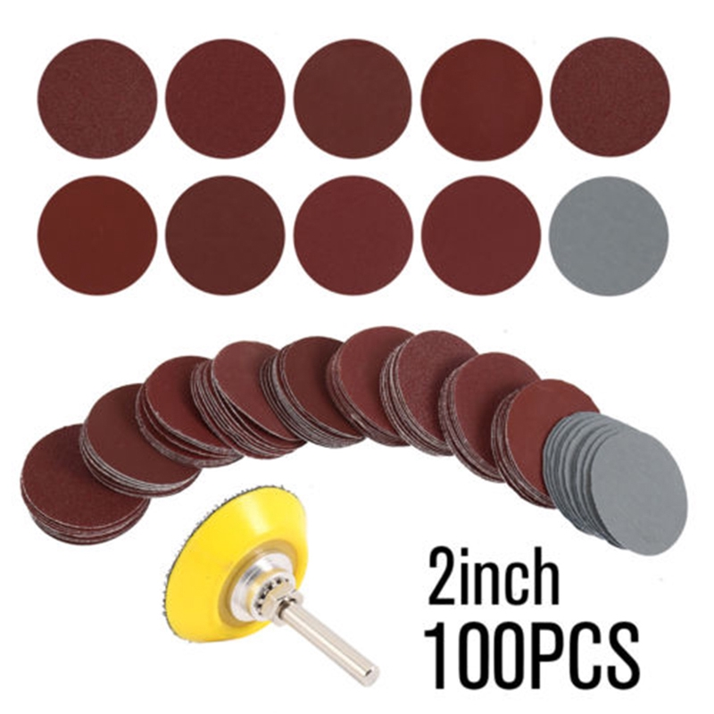 100PCS 2/'/' 50mm Hook /& Loop Sander Sanding Discs Pads 80-3000 Grit Sandpaper