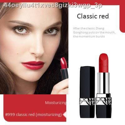 🔥ไวท์เทนนิ่ง🔥■○Dior Lip Glow Rouge Matte Lipstick Couture Color Comfort and Wear Lipstick, 999 999Moisturize ดีออร์