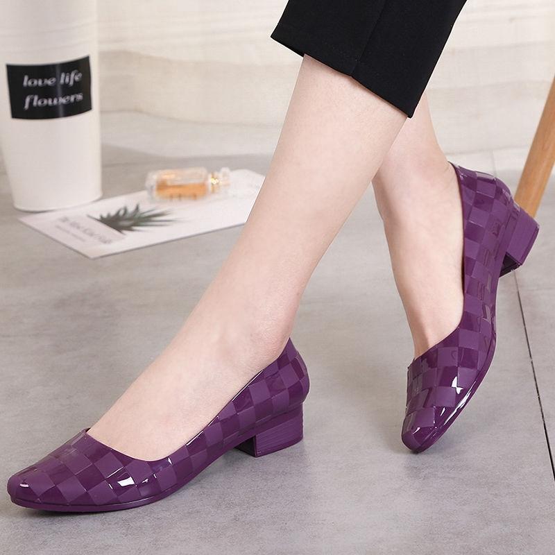 Sale‼️ 🔥New Fshion รองเท้าคัชชูหัวแหลม รองเท้ายางนิ่ม รองเท้ารัดส้น ส้นเตารีด สีพื้น พื้นนิ่ม ใส่สบาย