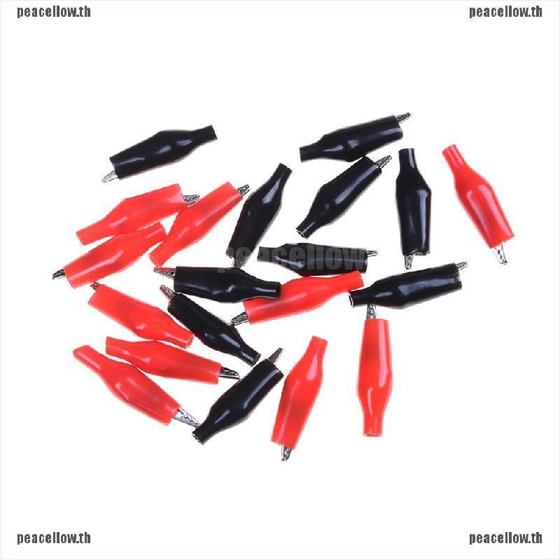 [peacellow]20Xs Red Black Soft Plastic Testing Probe Alligator Clips Cro