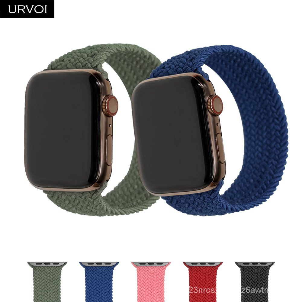URVOI Braided Solo Loop for Apple Watch sport band series 6 SE 5 4 3 2 1 stretchable Strap for iWatch woven threads gen.