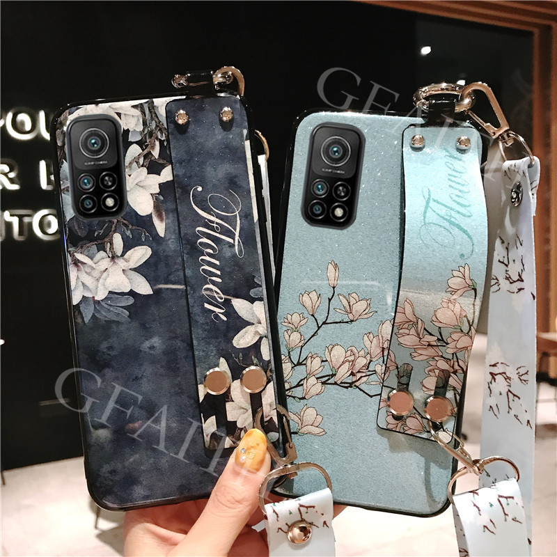 2020 New เคสโทรศัพท์ For Xiaomi Mi 10T / Xiaomi 10T Pro 5G Casing Case Flowers Bling Glitter Soft TPU With Wrist Band and Adjustable Crossbody Lanyard Cover เคส For Xiaomi10T Mi10T 10TPro 5G