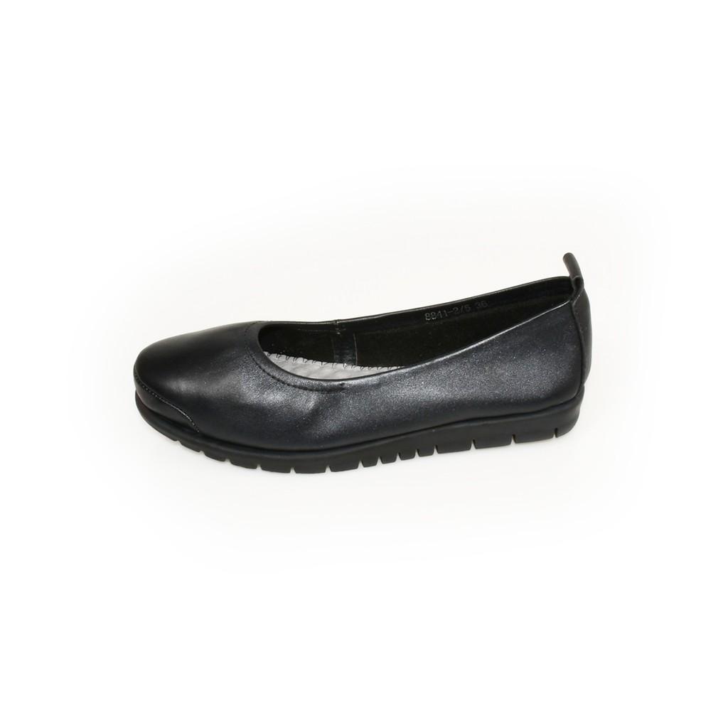 รองเท้าคัชชูหนัง ส้นแบน หัวมน POLO CLUB รุ่น P1562 สีดำ