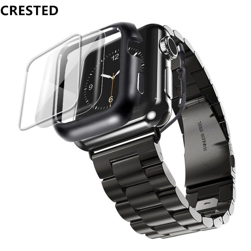 Stainless steel case + Apple watch strap, 44mm / 40mm strap, 42mm / 38mm Iwatch strap, apple watch series 5 4 3 se 6