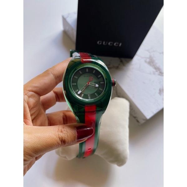 ผ่อน0%  Gucci YA137113 Sync watch เขียว-แดง