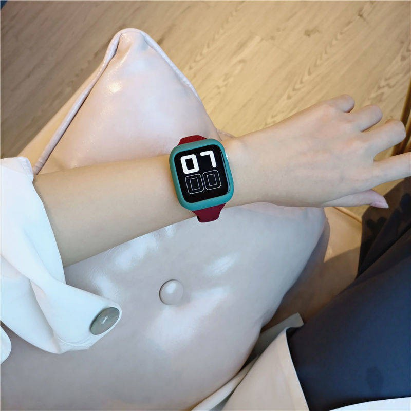💥 สาย applewatch 🔥 เหมาะสำหรับสาย Applewatch, ชุดซิลิโคนเอวเล็ก, สายรัดข้อมือ Apple, iwatch45 รุ่นใหม่