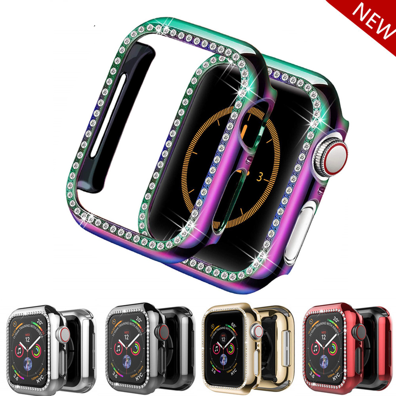 Apple Watch Series SE 6 5 4 3 2 1 iWatch Watch Case 44mm 40mm 42mm 38mm Bling Cover Diamond Protective Sticker Bumper PC Case