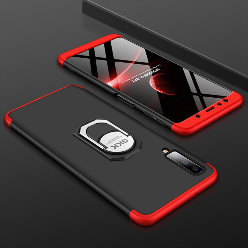 3 in 1 Matte Casing Samsung Galaxy A6 A8 A7 2018 A750 / A9 Pro 2018 A9S Phone Case Holder Finger Ring Hard Shockproof Back Cover