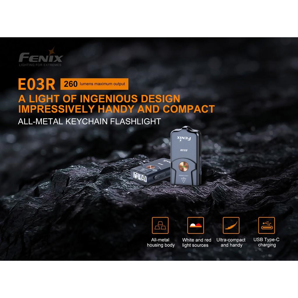 ไฟฉายขนาดเล็ก Fenix E03R Keychain ชาร์จ USB-C ในตัว