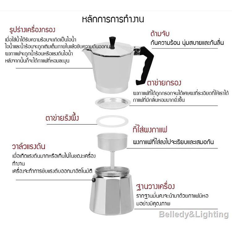 ห้องครัวและห้องอาหารmoka pot เครื่องชุดทำกาแฟ 3IN1 เครื่องทำกาหม้อต้มกาแฟสด สำหรับ 6 ถ้วย / 300 ml +เครื่องบดกาแฟ + 8VYJ