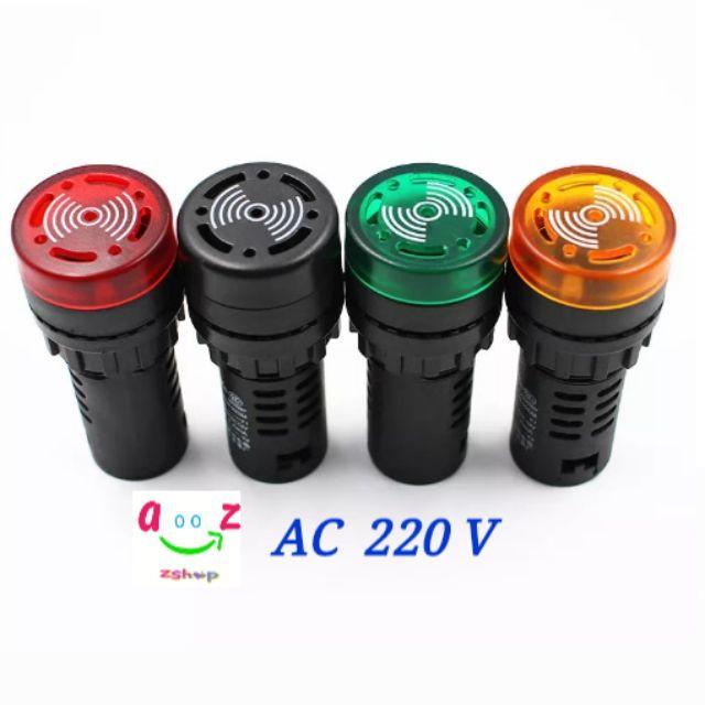 22 มม. แฟลชแสงสีแดงสีเขียวสีเหลืองสีดำ LED Active Buzzer Beep ตัวบ่งชี้สวิทช์  AC  220V