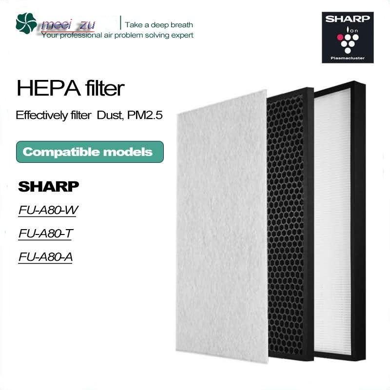 Sharp FZ-A80SFE เครื่องฟอกอากาศ HEPA และไส้กรองคาร์บอนที่ใช้งานเหมาะสำหรับ Sharp FU-A80-W / FU-A80A / FU-A80A-W