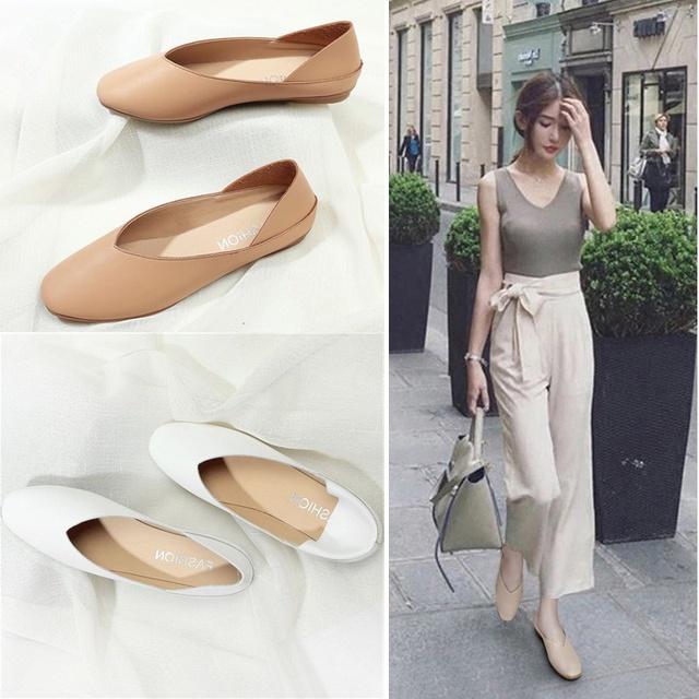 รองเท้าหัวแหลม รองเท้าส้นแบน รองเท้าผู้หญิงแฟชั่นมี รองเท้าคัชชู รองเท้าหนังผู้หญิง  ส้นเตี้ย นิ่มมากไม่เจ็บเท้า❤️
