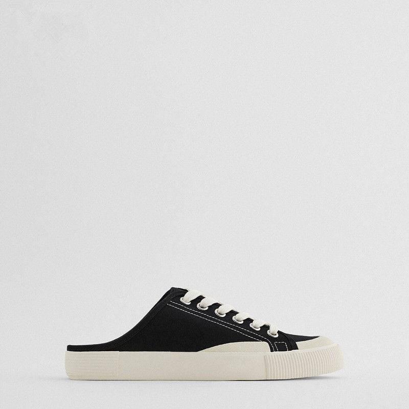 รองเท้าคัชชูเปิดส้น รองเท้าคัชชูเปิดส้นผู้หญิง ZARA รองเท้าผู้หญิง 2021 ใหม่รองเท้าเดียวสีดำลูกไม้หัวกึ่งลากแบนสบาย ๆ กี