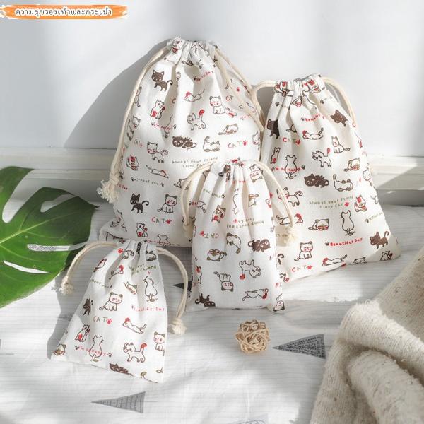 กระเป๋าผ้าฝ้ายและผ้าลินิน การคุ้มครองสิ่งแวดล้อม สายรัด เก็บเศษถุง กระเป๋าเก็บสัมภาระสำหรับเดินทาง กระเป๋าใบเล็ก