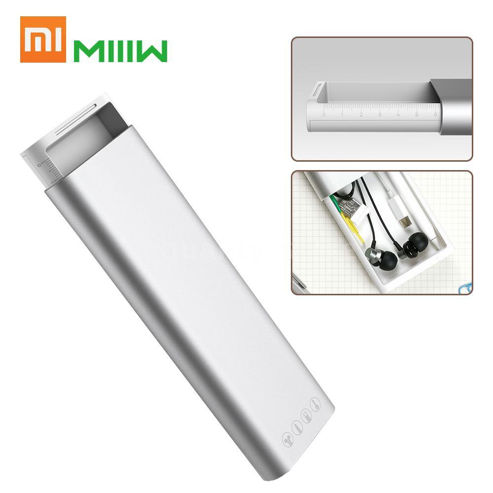 【ส่งฟรี】Xiaomi MIIIW Pencil Case Aluminum Alloy Metal Stationery Box Pencilcase Earphones Cable Organizer Pen Case With Press Pop-up Switch for Apple Pencil 2 School Office
