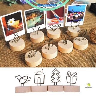Review ❀SIMPLE❀ 1 PC DIY Photo Frame Desktop Ornament Message Left Supporter Round Wooden Holder Gift Party Decor Memo Card Home Decoration Picture Clip