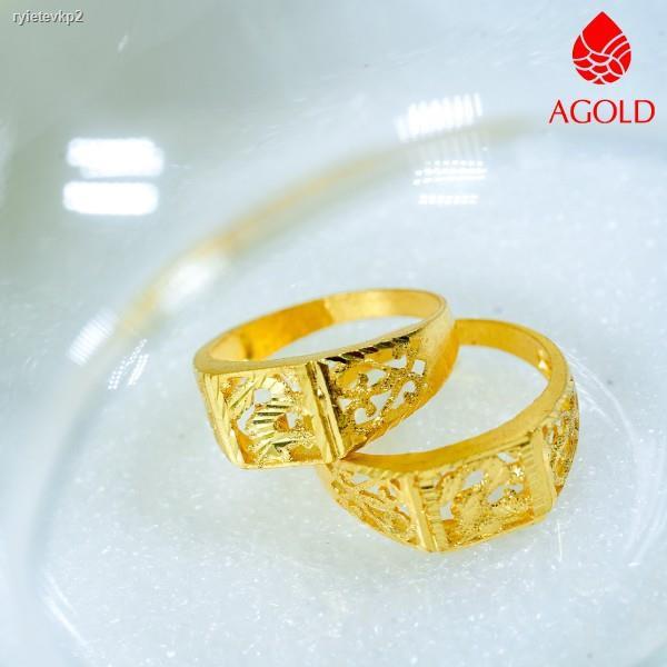 ราคาต่ำสุด﹊☊♟AGOLD แหวนทอง ฉลุลายมังกร หนัก 1 สลึง ทองคำแท้ 96.5