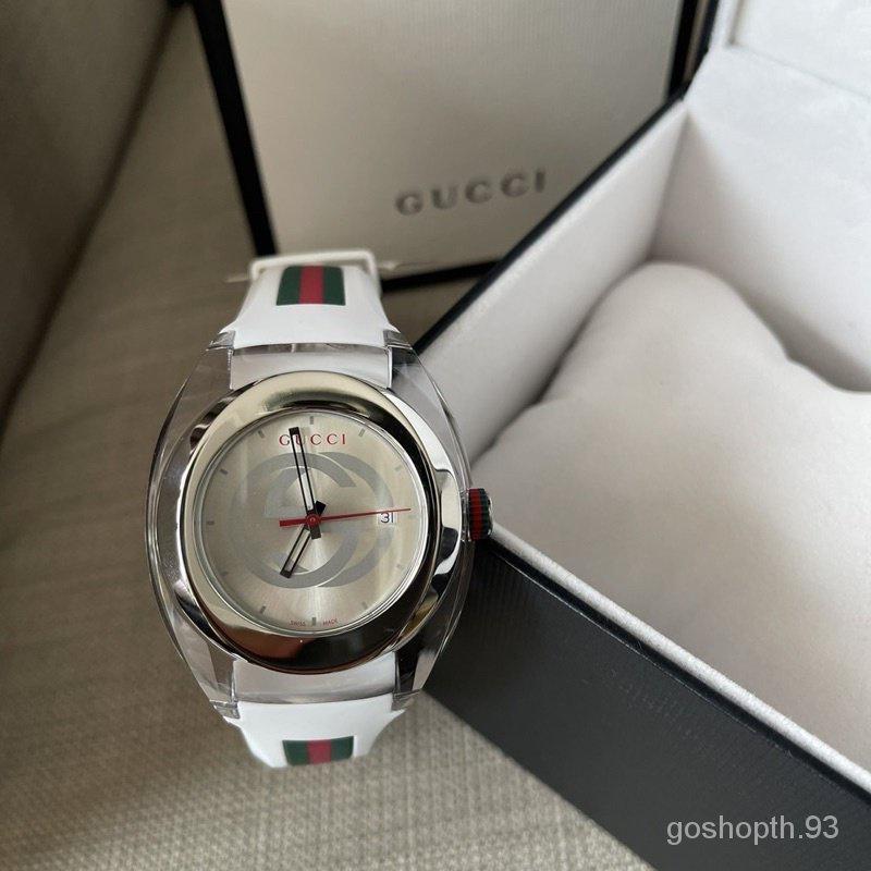 ผ่อน0%~แท้100% Gucci Sync YA137107A Watch Quartz White 45mm Rubber Strap