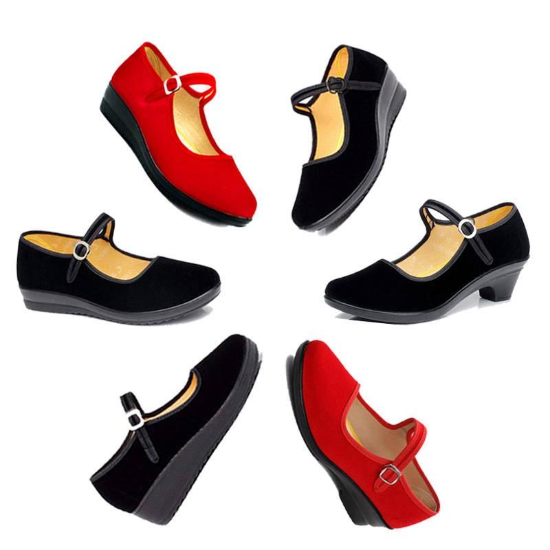 รองเท้าคัชชู ♙รองเท้าผ้าปักกิ่งเก่าขนาดใหญ่ผู้หญิง 41-43 รองเท้าเดี่ยวด้านล่างแบน 42 ไซส์ใหญ่พิเศษสีดำกำมะหยี่รองเท้าทำง