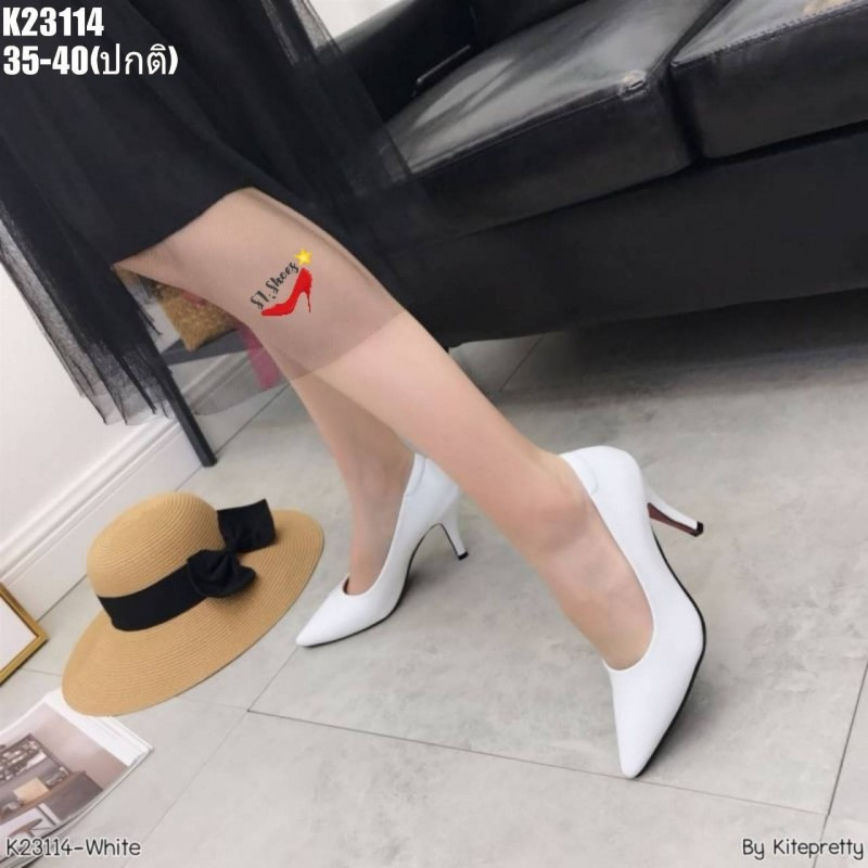 รองเท้าคัชชู หนังแก้ว สีขาว รองเท้าส้นสูง รองเท้าคัชชูส้นสูง รองเท้าผู้หญิง รองเท้าส้นเข็ม