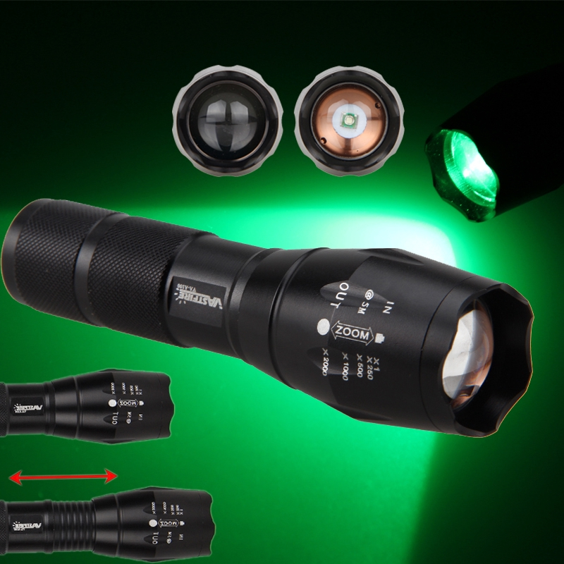 Tactical White//Green//Red Zoom Focus 5000LM LED Flashlight Hunt Torch 5 Mode Lamp