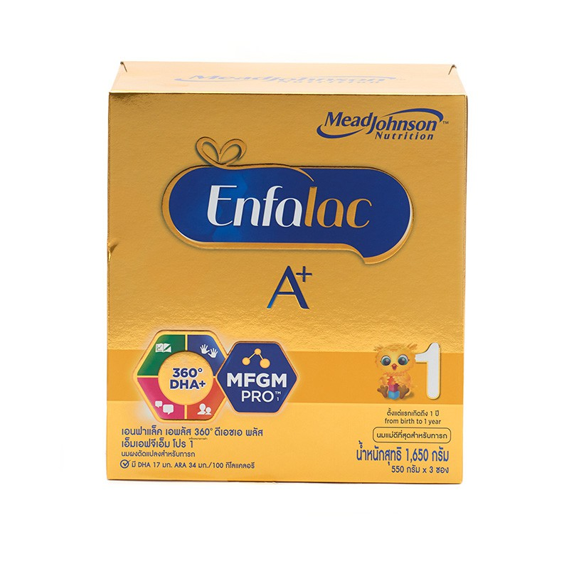 เอนฟาแล็ค A+ นมผงสำหรับทารก สูตร 1 ขนาด 1.65 กก. Enfalac A + Milk Powder Formula 1 Size 1.65 kg.