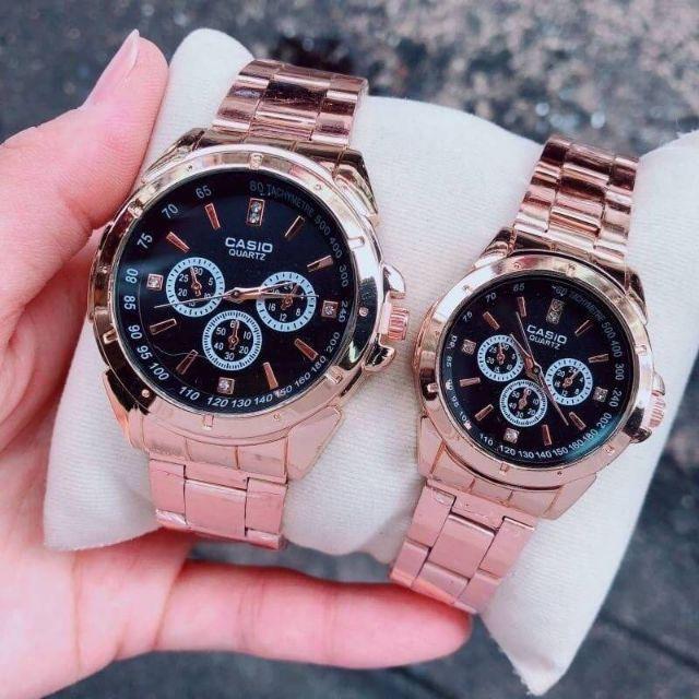 CASIO  นาฬิกาสายสแตนเลส เซ็ทงานคู่/เดี่ยว สีพิงค์โกลด์