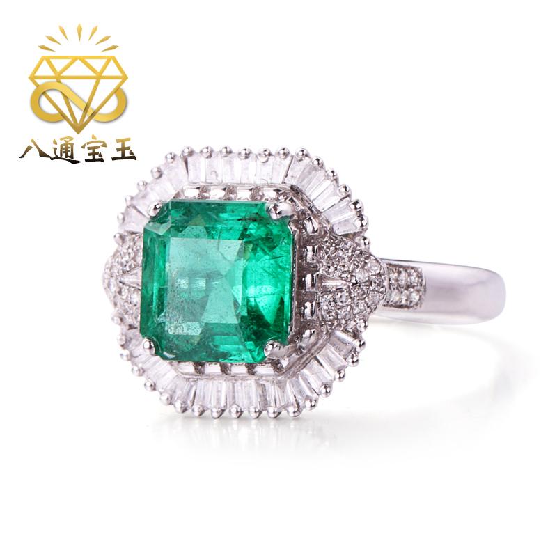 แปดอัญมณีเครื่องประดับ2.5กะรัตแหวนมรกตธรรมชาติหญิง18Kเพชรทองคำฝังเครื่องประดับอัญมณีสีหญิง