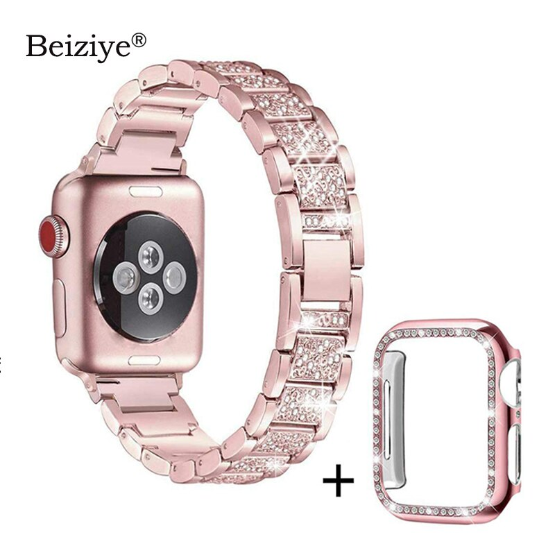 Diamond Strap+Case For Apple Watch 38mm 42mm Metal Rhinestone Replacement Wristband Women for iWatch 40mm 44mm Series 5