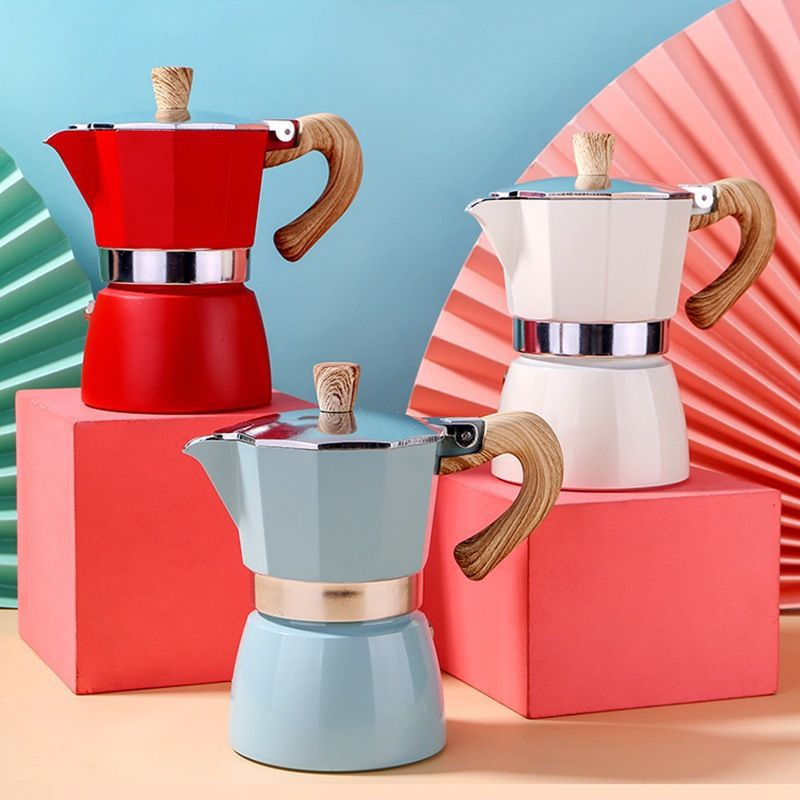 ชุดกาแฟ✻№หม้อกาแฟ หม้ออลูมิเนียมทรงแปดเหลี่ยม สไตล์ยุโรป เครื่องทำกาแฟ moka pot อิตาเลี่ยน คลาสสิค แบบร้อน