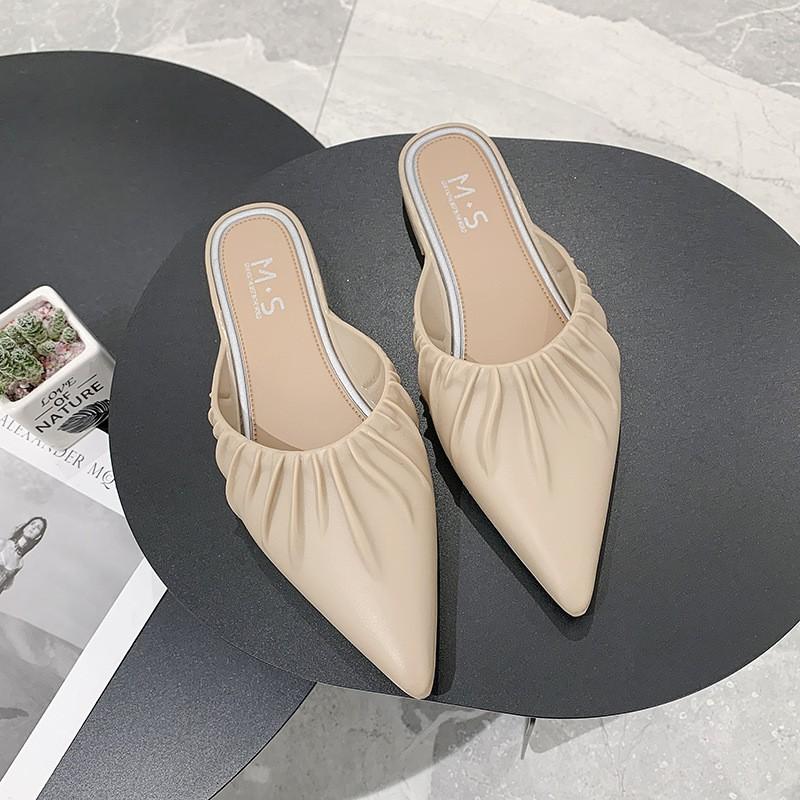 รองเท้าผู้หญิง รองเท้าแฟชั่นเกาหลี รองเท้าคัชชู รองเท้าส้นแบนหัวแหลมเปิดส้น รองเท้าแตะ SpinkleShop