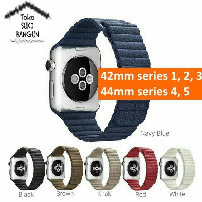 สายนาฬิกาข้อมือหนังแม่เหล็กสําหรับ Apple Watch Series 6 5 4 3 2 1 Band 42mm 44mm
