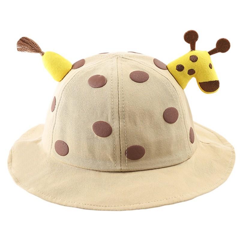 lijun Toddler Baby Beach Bucket Hat Cartoon Giraffe Sunscreen Foldable Fisherman Cap