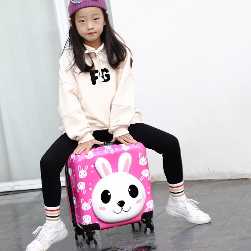 ≔❇ กระเป๋ารถเข็นเดินทาง กระเป๋าเดินทางพกพา กระเป๋าเดินทางเด็ก รถเข็นเด็กกระเป๋าเดินทางการ์ตูนหมีกระเป๋าเดินทางนักเรียนหญ