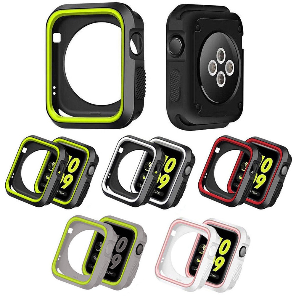 Silicone cover For Apple Watch case 44mm 40mm iWatch case 42mm/38mm Bumper Protector Apple watch series 6 5 4 3 SE Acces
