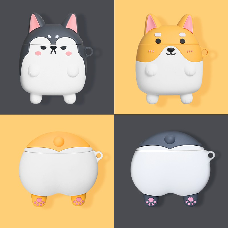 Case☁Airpods cases corgi ass airpods2 case apple wireless bluetooth headset breaker shell silicone set of charging box