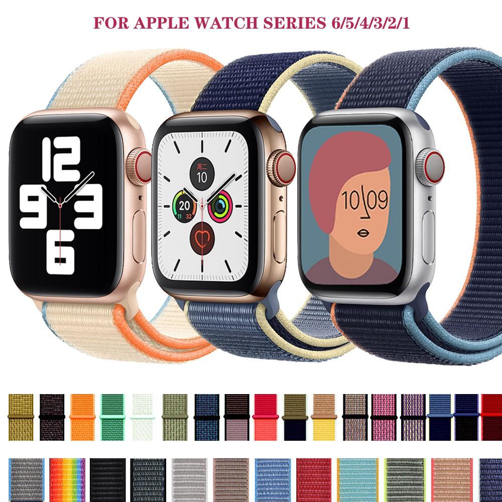 ∈¤♀สายนาฬิกาข้อมือไนล่อนสําหรับ apple watch 5 band iwatch 44 มม. 40 series