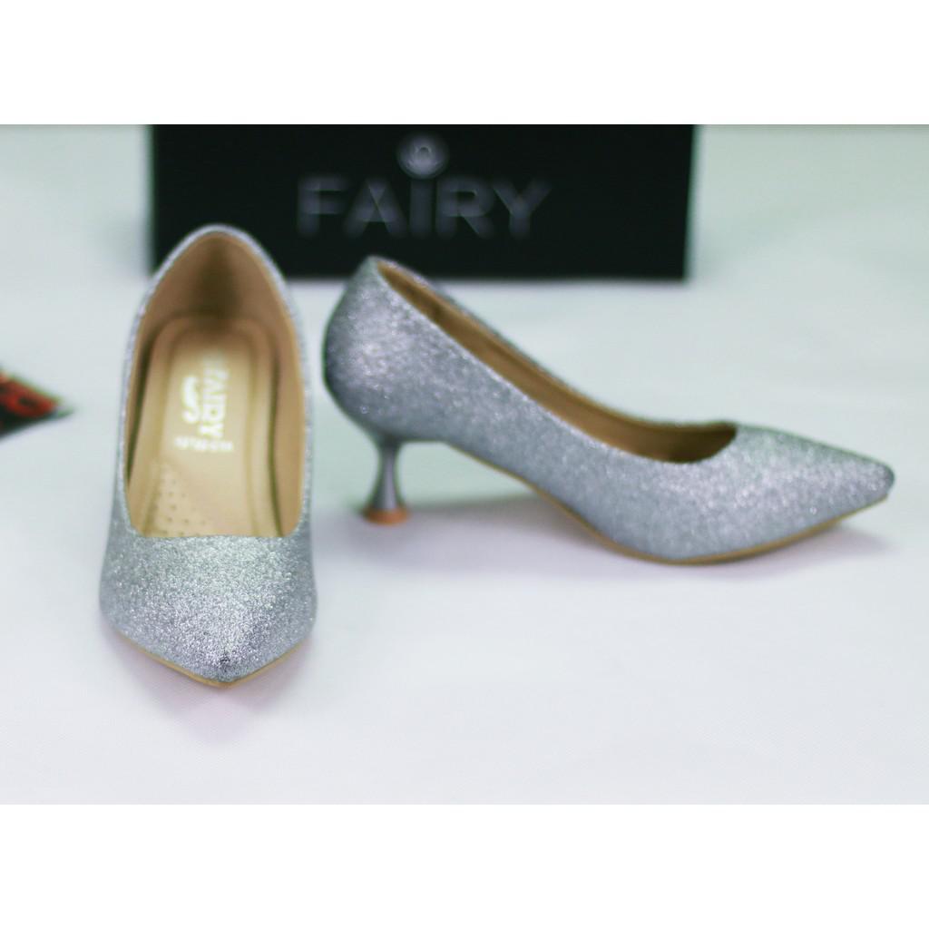 รองเท้า 12732 รองเท้าผู้หญิง รองเท้าคัชชู ส้นสูง แฟชั่น เกล็ดเพชร 2.5 นิ้ว  FAIRY  รุ่น 12732-C1A