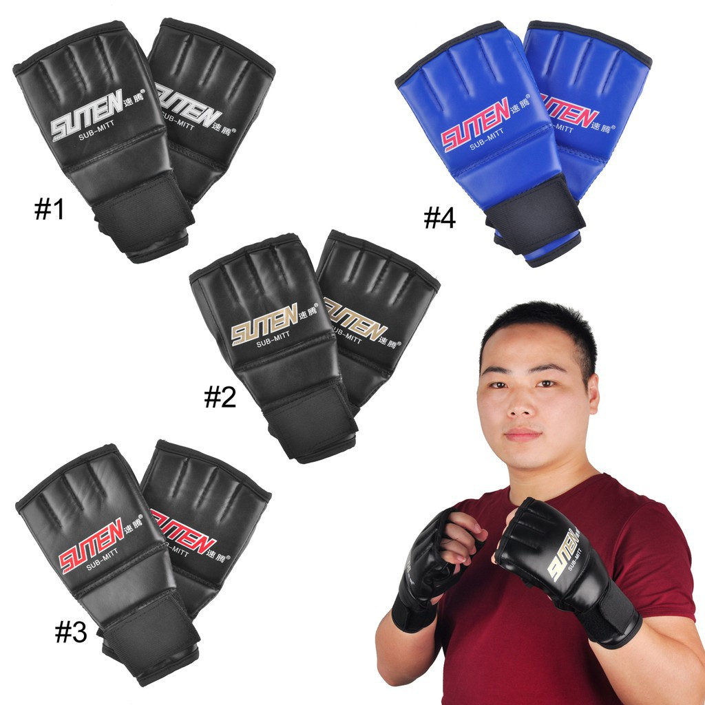 SUTEN Upscale Boxing Gloves Half Finger Mitts Gloves Breathable Leather Gloves