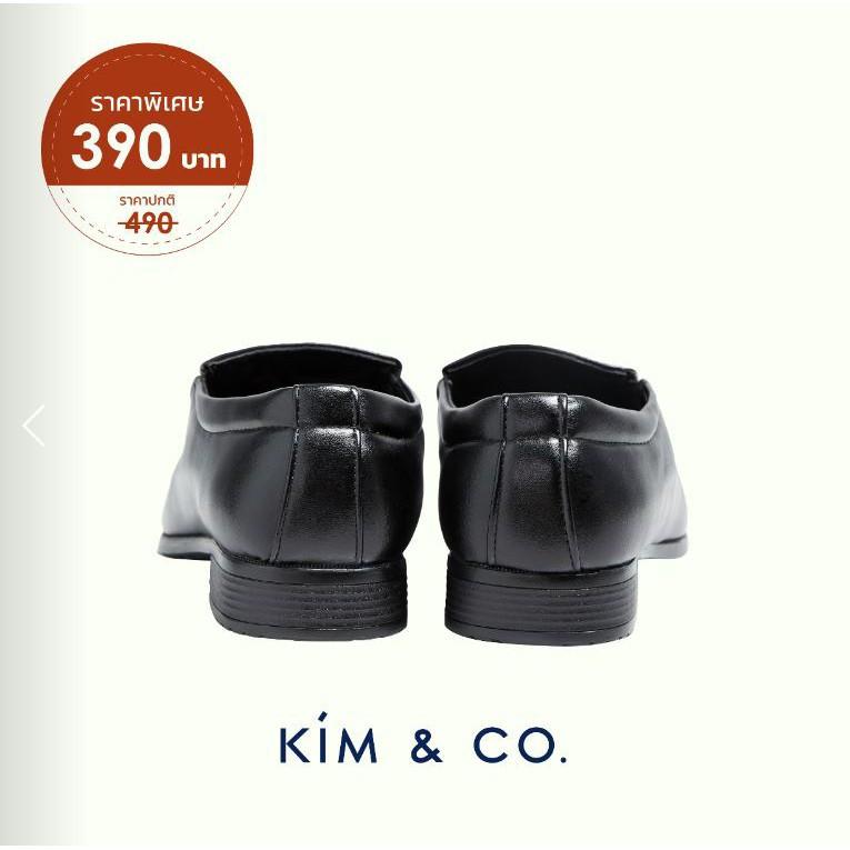 รองเท้าหนัง# <<<<ฟรีค่าจัดส่ง>>>> Kim&Co. รองเท้าหนัง รองเท้าคัชชู ผู้ชายสีดำ แบบสวม รุ่น K005