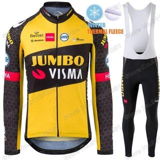 2021 Mens Team Thermal Fleece Cycling Jerseys Long Sleeve And Cycling Bib Pants